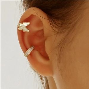 Butterfly and Crystal Ear Cuff Set